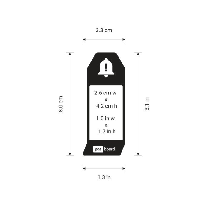 PATboard IMPEDIMENTcards sizes - in centimeters and inches